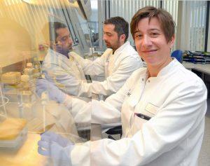 PD Dr. Luisa Klotz and Ivan Kuzmanov at work in the laboratory (Photo: FZ/UKM)